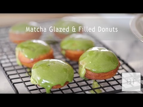 Matcha Glazed & Filled Donuts