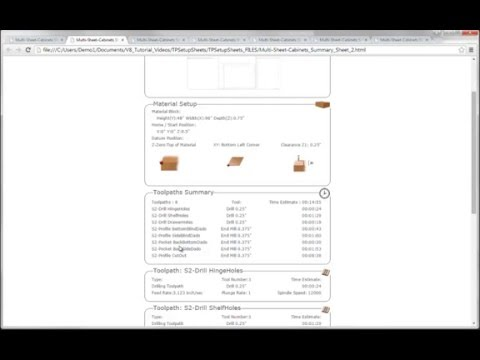 Vectric V8 Tutorials - Toolpath Setup Sheets