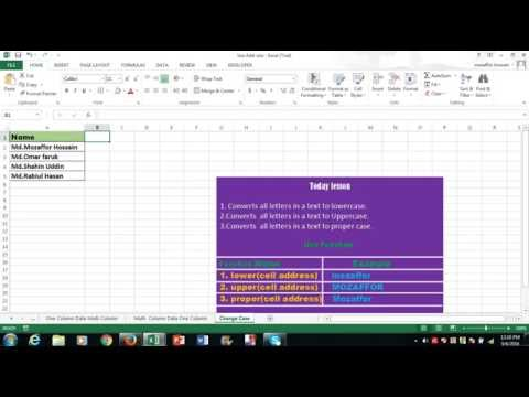Change Case in Excel Program|   letters in a text to lowercase|   all letters in a text to Uppercase