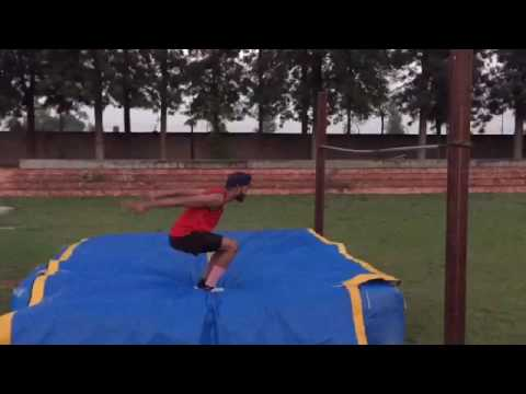 High jump training ( back flip )