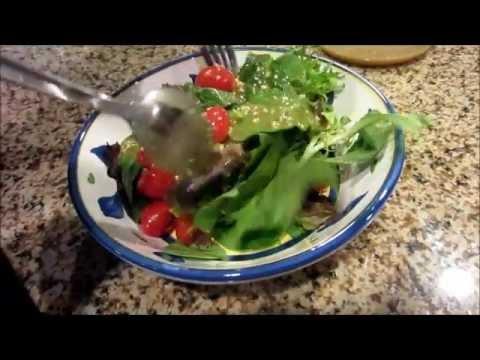 Healthy salad with soy & peanut vinaigrette dressing
