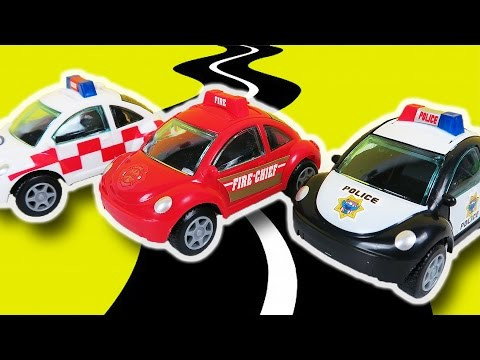 Play Fun Toy Police Hospital Ambulance Fire Brigade Chief Moving Cars Color Candy Dispensers
