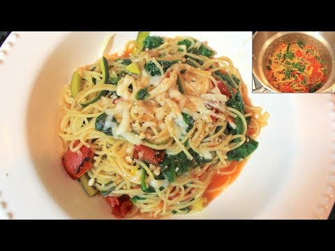 One Pot Pasta Recipe With Spinach & Zucchini: Easy Dinner Recipes