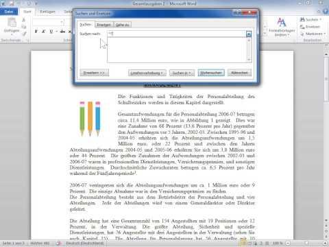 Microsoft Word 2010 Codes zum Finden von Buchstaben, Formatierung, Feldern oder Sonderzeichen verwen