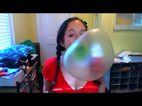Blowing big green bubbles!