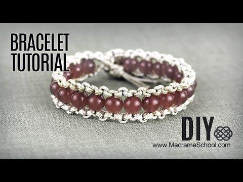 DIY Easy Macramé Boho Bracelet with Beads and Button Clasp