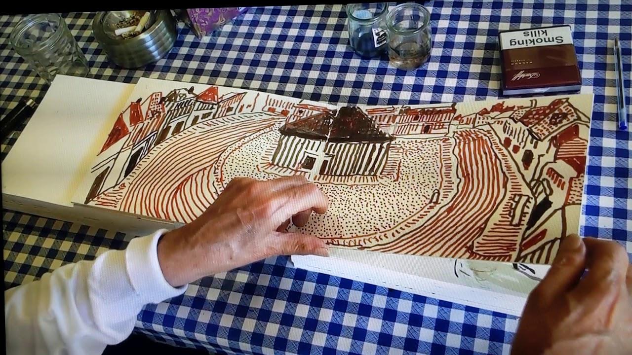 David Hockney shows his sketch book