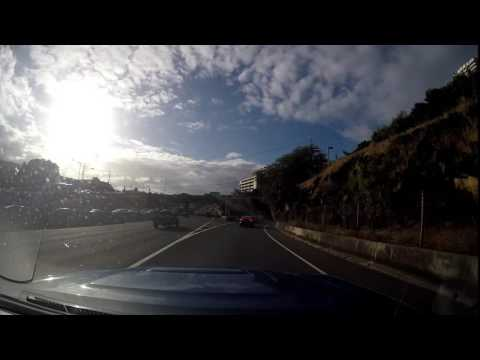 Morning Traffic in Honolulu Hawaii on the H1 Freeway Eastbound