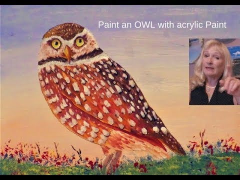 How to Paint OWL feathers easy for beginners with Acrylic Paint Lesson 3.