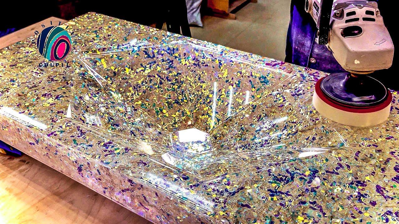 Bathroom Sink of Epoxy resin and Tinsel! Умывальник из Эпоксидной смолы и Мишуры!