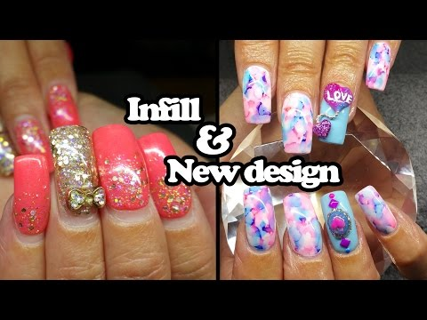 Acrylic infill and design change | Water colour nails