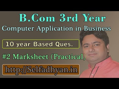 #2 Mark Sheet Based Exam Question - BCOM 3rd Year - Computer Application in Business with PDF