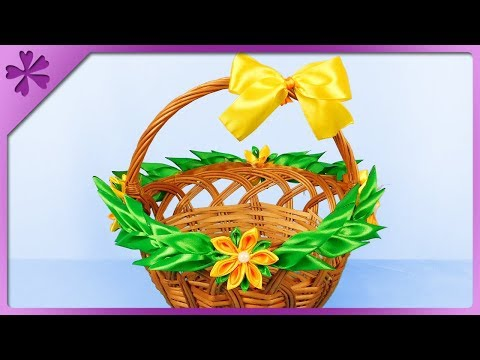 DIY How to decorate Easter basket by using kanzashi ribbon flowers (ENG Subtitles) - Speed up #471