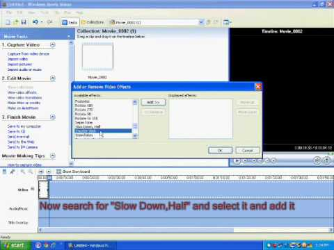 Fast motion , Slow motion video/clip on windows movie maker - xp , win live maker