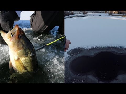 Ice Fishing Out Of A Natural BUBBLING Ice Hole!?!