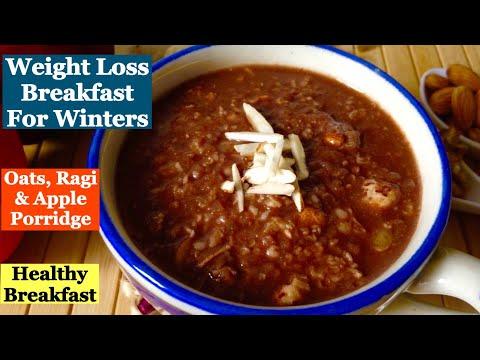 Healthy Breakfast Recipe for Winters   How to make Oats Ragi/ Nachani/ Apple Porridge   Weight Loss