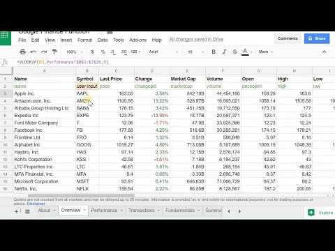 Create the Google Finance Portfolio in Google Sheets