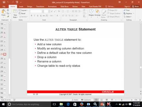 Alter Table Statements