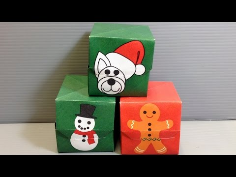 Origami Christmas Gift Box - Snowman Gingerbread Dog