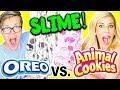 DIY GIANT OREO SLIME VS ANIMAL COOKIE SLIME CHALLENGE! (NO BORAX)