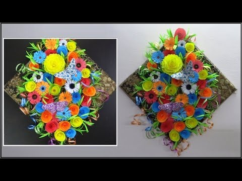 DIY Paper Crafts Flowers Wall Hanging | Floral Wall Decorations Easy | Wall Decor Making
