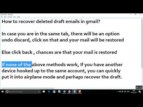How to recover deleted draft emails in gmail?