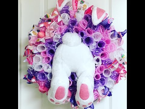 How to make a Easter Bunny Wreath curly method deco mesh wreath