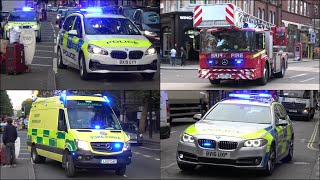 [New Police Cars] Fire Engines, Ladder Truck and Ambulances responding in London