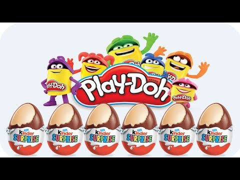 LEARN COLORS AND ANIMALS FOR CHILDREN  WITH PLAY DOH AND KINDER SURPRISE EGGS