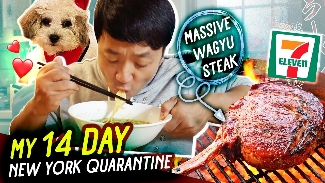 My 14 Day NEW YORK Quarantine   Korean 7-ELEVEN BREAKFAST Dumplings & MASSIVE Wagyu Steak