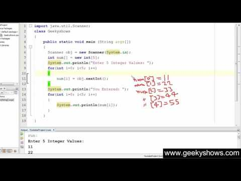 69. Getting input from user in one D Array Java Programming (Hindi)
