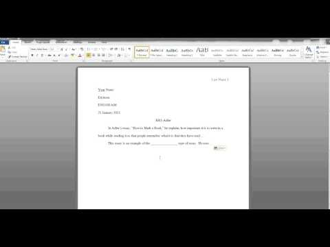 MLA Format- First page and Works Cited