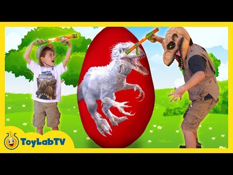GIANT EGG SURPRISE OPENING! Indominus Rex & Biggest Dinosaur Toy Egg, Ultra T-Rex Kids Video