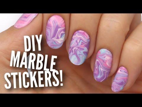 Nail Hack: DIY Water Marble Nail Stickers!
