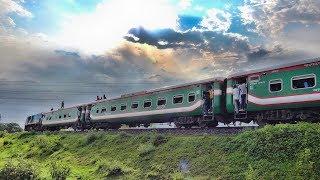 Dhaka to Sylhet premium train Parabat Express passing through Tongi Rail Curve- Bangladesh Railway