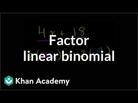 Example 1: Factor a linear binomial by taking a common factor | Algebra I | Khan Academy