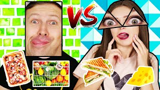 24 часа едим только Треугольную и Прямоугольную еду! Челлендж 🐞 Эльфинка