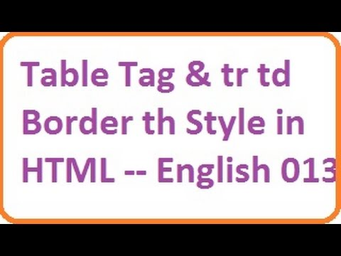 Table Tag and tr, td Border, th, Style in HTML -- English-vlr training