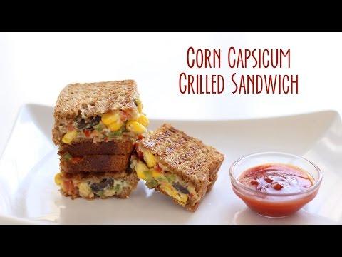 Corn Capsicum Cheese Grilled Sandwich Recipe by Gopi | Corn Capsicum Sandwich