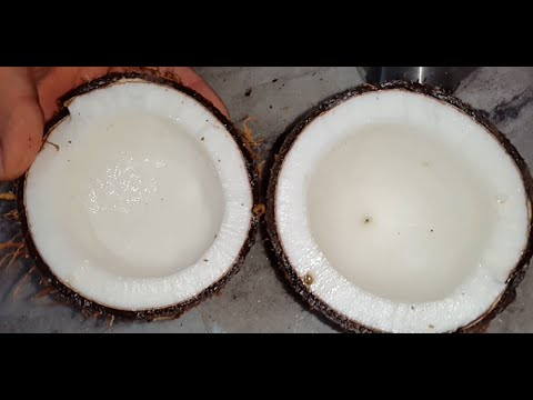 How to remove coconut flesh from shell at home - easy way