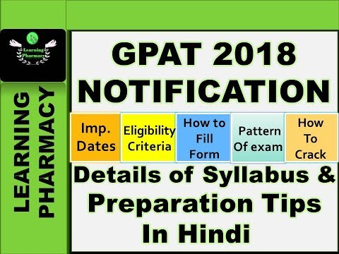 GPAT 2018 NOTIFICATION || How To Crack || Important Dates | Pattern Of Exam | Eligibility Criteria |