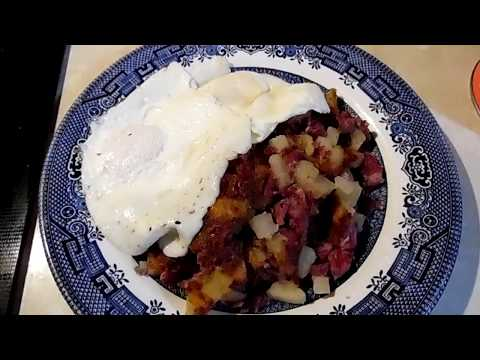 Cooking the canned corned beef hash