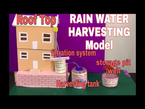 RAIN WATER HARVESTING SYSTEM model | school project The4Pillars