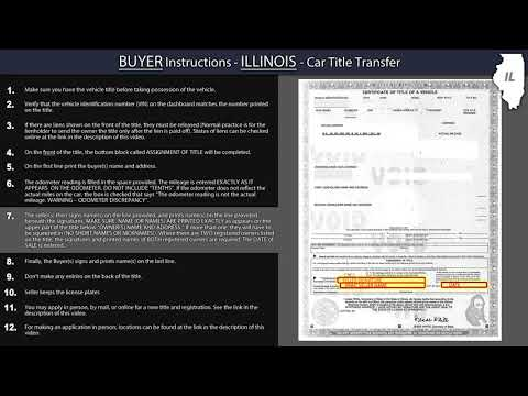 Illinois Title Transfer BUYER Instructions