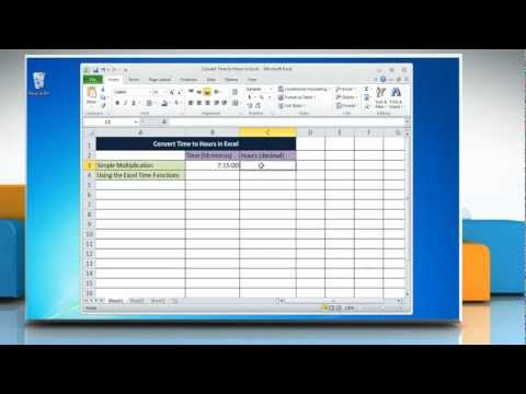 How to Convert Time to Hours in Excel 2010