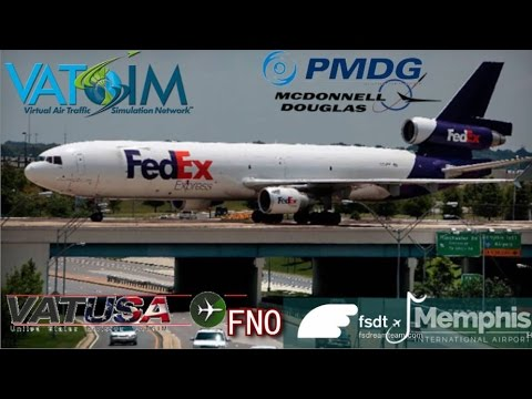 PMDG MD11 flies Atlanta to FSDT Memphis for Vatsim USA FNO