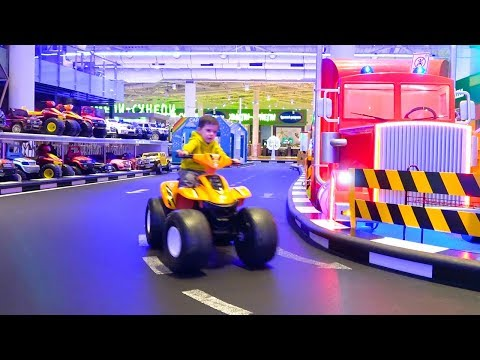 Indoor Playground for children Ride on Power Wheels cars Funny cars video for kids