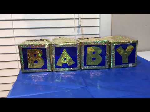 DIY Baby Shower Blocks (dollar store edition)| How to make INEXPENSIVE centerpieces