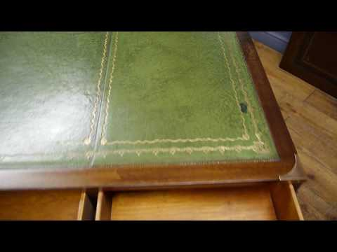 Mahogany Military Campaign Twin Pedestal Writing Desk Green Leather Top