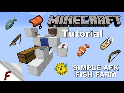 Minecraft Easy to build AFK Fish Farm Tutorial Video 1.12.2 Server Friendly